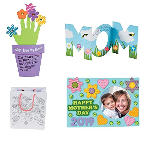 Mother's Day Craft Kit for Kids | Happy Mother's Day 2019 Frame | Handprint Flower Craft | Color on Gift Bag and Card