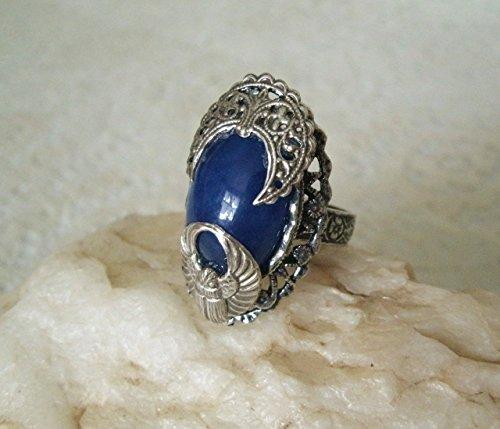 Lapis Lazuli Scarab Ring, handmade jewelry victorian edwardian art deco steampunk gothic art nouveau ()