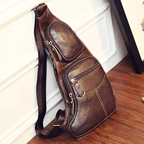 - 2019 New Fashion High Quality Men Genuine Leather Cowhide Vintage Sling Chest Back Day Pack Travel fashion Cross Body Messenger Shoulder Bag