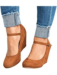 Womens Mary Jane Wedges Pumps Ankle Strap Closed Toe...