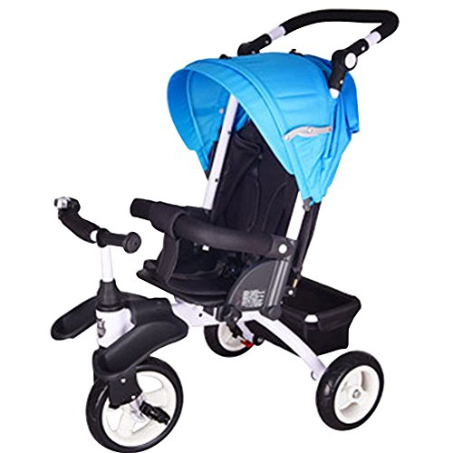 OLizee Ultimate 3 in 1 Stroller Baby Can Lie Down Kids Tricycle Stroller Combo Folding Child Trike Bike with Canopy Storage Bag (Blue)