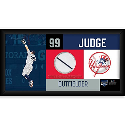 AARON JUDGE GAME USED NY YANKEES PINSTRIPE UNIFORM FRAMED 6x9 COLLAGE & COA