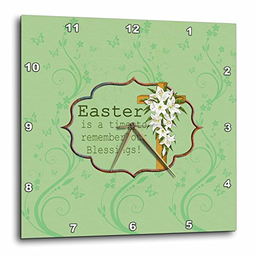 Easter Lily Vine - 3dRose Beverly Turner Easter Design and Photography - Easter is a time to remember our Blessings, Cross, Lilies, Vine Design - 10x10 Wall Clock (dpp_276168_1)