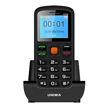 UNIWA V708 Teléfono Móvil 2G GSM Pantalla 1,77 Pulgadas Dual SIM Calendario, Alarma, Calculadora, E-Book, Linterna, FM Radio, Botón SOS, Soporta ...