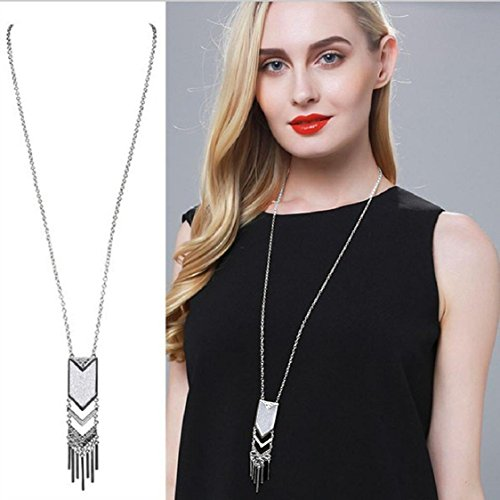 Costume Long Necklace - Hanloud Boho Tassel Geometric Pendant Triangle Long Necklace for Women