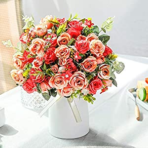 LESING Artificial Silk Rose with Vase Fake Flowers Wedding Flowers Bouquets Arrangement Home Office Party Centerpiece Table Decoration (Red)