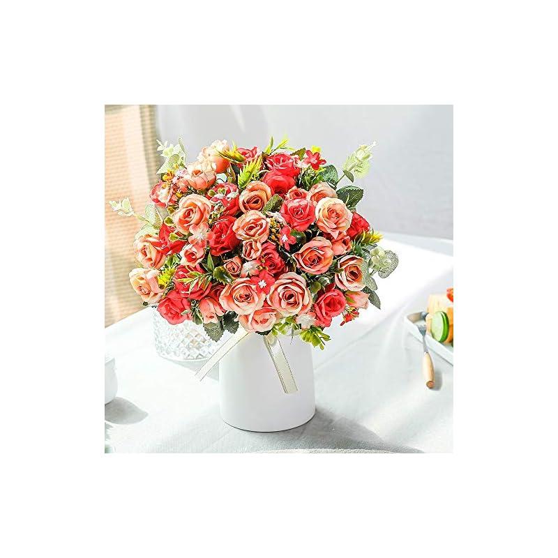 silk flower arrangements lesing artificial silk rose with vase fake flowers wedding flowers bouquets arrangement home office party centerpiece table decoration (red)