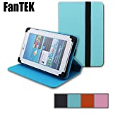 FanTEK Universal 10.1 Inch Hook & Loop Adjustable Folio PU Leather Stand Case Cover for Contixo Q103 Aoson Quantum Proscan Ouku Digital2 Renzhong Pyle Astro RCA NeuTab Ematic ARC Polaroid AXESS MTLI SKYTEX and Other Tablets (Blue)