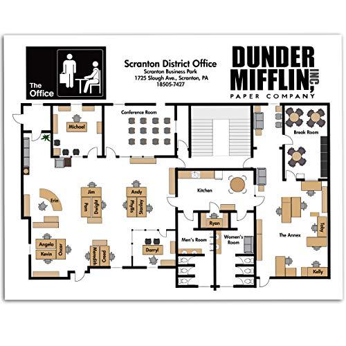 Dunder Mifflin Floor Plan - 11x14 Unframed Art Print - Great Gift Under $15 to The Office Fans, Also Makes a Great Office ()