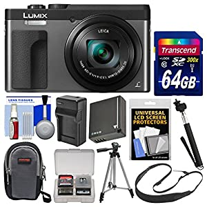 Panasonic Lumix DC-ZS70 4K Wi-Fi Digital Camera (Silver) with 64GB Card + Case + Battery & Charger + Monopod + Tripod + Strap + Cleaning Kit
