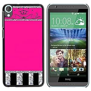 For HTC Desire 820 Case , Glitter Crown Pink Silver Sparkling - Diseño Patrón Teléfono Caso Cubierta Case Bumper Duro Protección Case Cover Funda