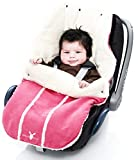 Wallaboo Baby Universal Bunting Bag, for Car Seat Stroller Pushchair, Footmuff Sack,  Luxurious suéde and soft faux sheerling, Newborn upto 12 months, 84x50cm, Size: 33 x 20 inch, Color: Pink