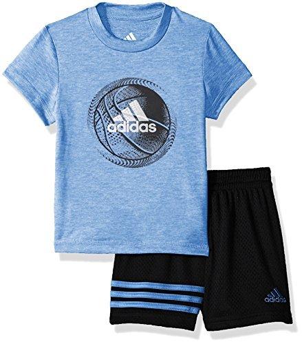 adidas Baby Boys Short Sleeve Tee and Short Set, Marina Heather, 18M -