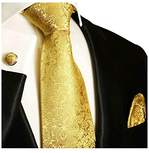Paul Malone Necktie, Pocket Square and Cufflinks 100% Silk Gold,One Size ()