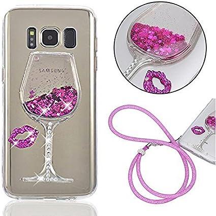 Coque Verre de Vin Samsung Galaxy S8 Plus Etui 3D Liquide