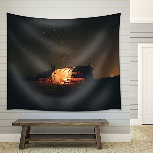 Hut in the Wild under Starry Night Fabric Wall Tapestry