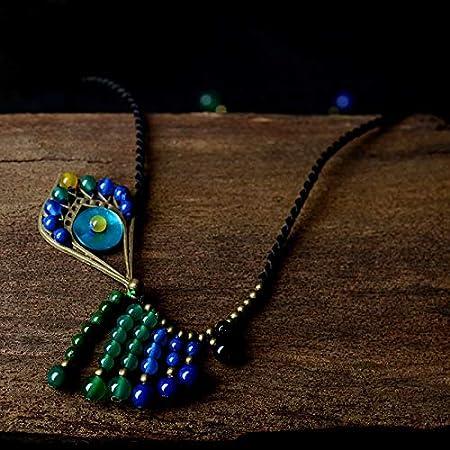 Davitu Bohemian Short Chain Ethnic Choker Necklace for Women Boho Jewelry Color Shell Green Stone Peacock Style Pendants Fashion 2017 Metal Color: Copper, Main Stone Color: Multi Color