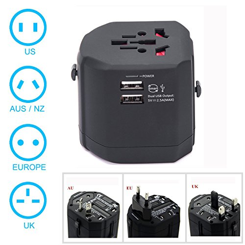 Universal Travel Adapter,Geelyda Multi International Travel Adapter with Dual 2.4A USB Charging and Worldwide AC Wall Outlet Plugs for US,UK,EU,AU & Asia Covers 150 Countries … by Geelyda