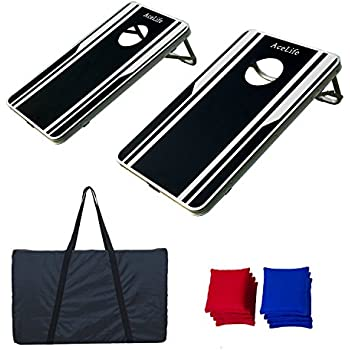 AceLife Cornhole Bean Bag Toss Game Set Aluminum Frame with 8 Bean Bags and Carrying Case, Junior Size (2.5ft x 1.5ft)