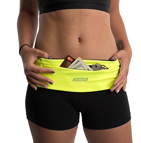 Fixbelt - Premium Running & Fitness Belt for Women and Men - Zipper Pocket - Fits iphone 6, 6 plus - Use for Cycling, Gym, Workouts, Travel - 100% (Neon Yellow, Medium)