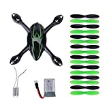 Kingtoys for Hubsan Crash Pack X4 H107c Quadcopter, Includes Body Shell, 8x Pair of Black and Green Propellers, Flight Battery, 2x Motors, Black/green (Black+green)