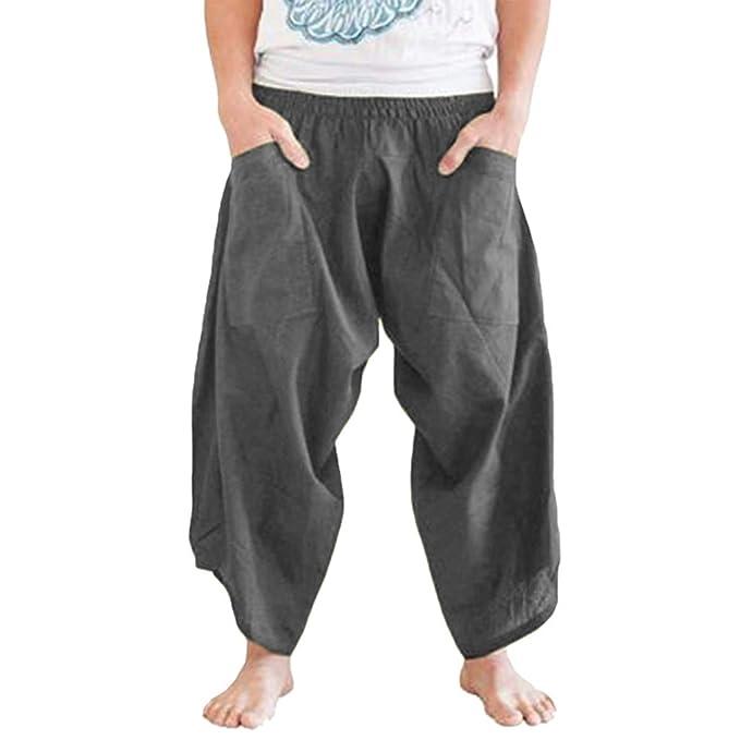 Men Linen Cotton Trousers Japanese Chinese Loose Harem Pants Elastic Waist Baggy