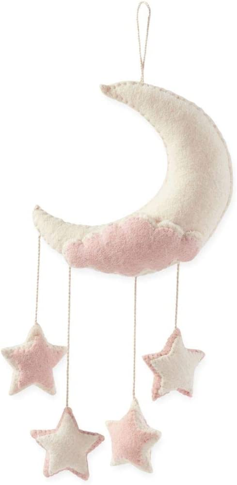 Mud Pie Baby Room Nursery Decor Felt Twinkle Twinkle Little Star Moon Wall Hanging 12000020 (Pink)