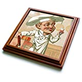 3dRose trv_38428_1 Chef with Wine Trivet with Ceramic Tile, 8 by 8
