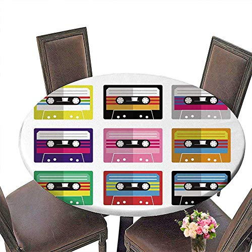 PINAFORE Round Table Tablecloth Colorful Flat Isolated Mix Tape Audio cas te Tape for Wedding Restaurant Party 43.5