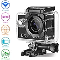HaloCam WiFi Sports Action Camera Ultra HD 12MP 1080P Waterproof DV Camcorder 170° 2.0 Inch LCD Screen Anti-shake Motion Detection Function (Black)