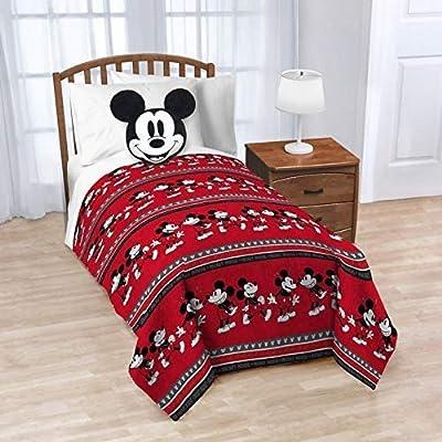 "Jay Franco 60"" x 90"" Blanket, 2 Piece Nogginz Set (Mickey Mouse): Home & Kitchen"