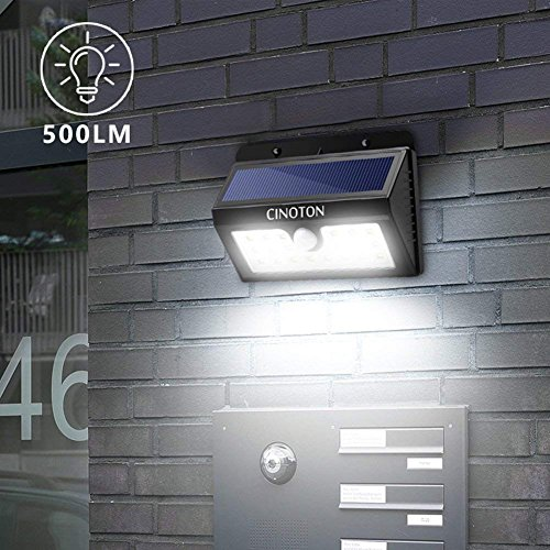 Cinoton Outdoor Solar Wall Lights Ultra Bright 20 Led