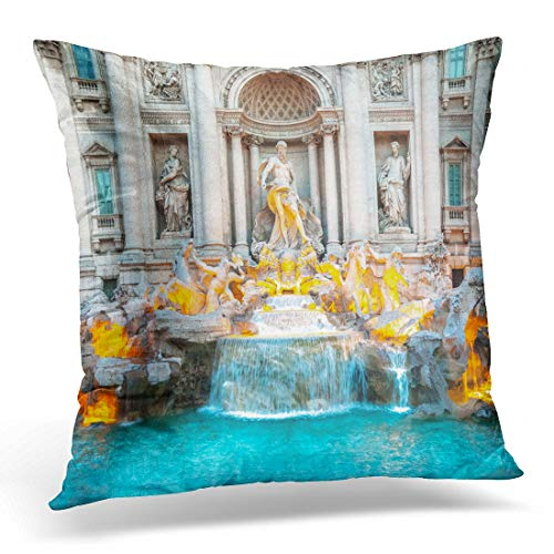- Emvency Throw Pillow Cover Trevi Fountain at Sunrise Rome Italy Baroque Architecture Decorative Pillow Case Home Decor Square 18