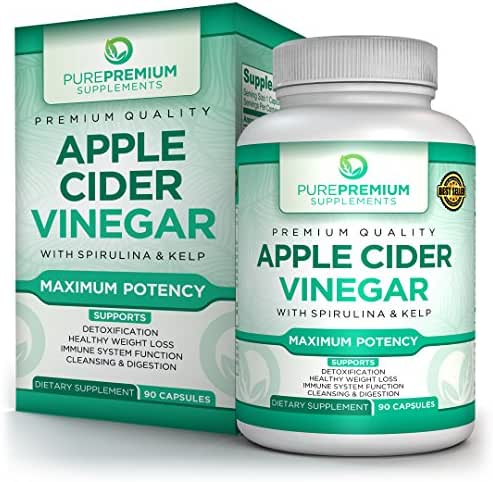 Premium Apple Cider Vinegar Capsules by PurePremium - Natural Weight Loss & Metabolism Support - Powerful Fat Burning & Immune System Boost - Promote Detoxification & Healthy Digestion - 90 Caps