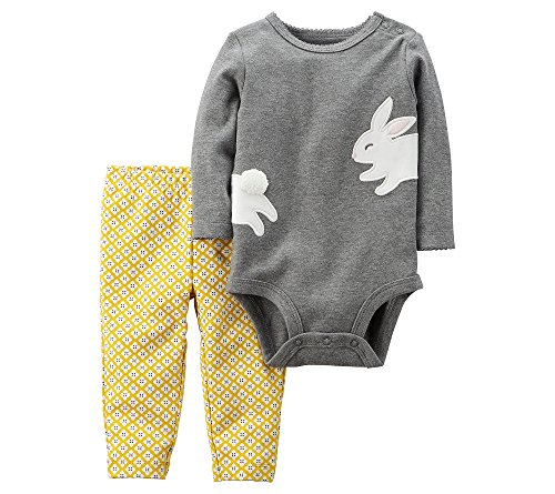 Carters Baby Girl 2 Piece (Carter's Baby Girls' 2 Piece Bunny Bodysuit And Pants Set 9 Months)