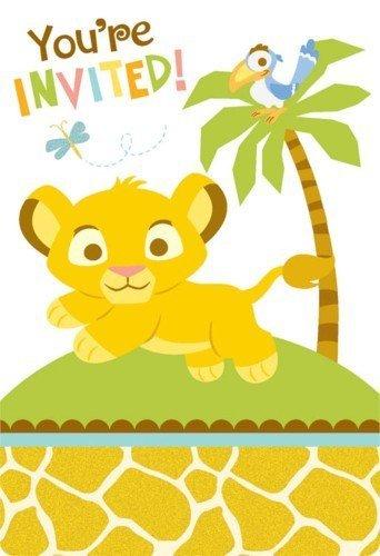 Baby Lion King 'Sweet Circle of Life' Invitations w/ Envelopes -