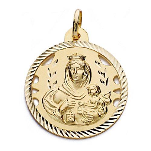 18k médaille d'or Virgen del Carmen et Jésus-Christ 28mm. [AA0562]