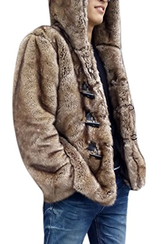 Men's Super Warm Thick Fake Mink Faux Fur Hooded Coat Short Snow Outwears Duffle Jacket L (Brown Mink Jacket)