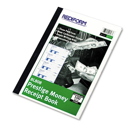 Money Receipt Book, 7 x 2 3/4, Carbonless Triplicate, 100 Sets/Book by Rediform®