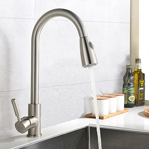 Best Commercial Stainless Steel Single Handle Pull Down Sprayer Kitchen Faucet Pull Out Kitchen