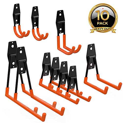 (ORASANT 10-Pack Steel Garage Storage Utility Double Hooks, Heavy Duty for Organizing Power Tools, Ladders, Bulk items, Bikes, Ropes etc.)