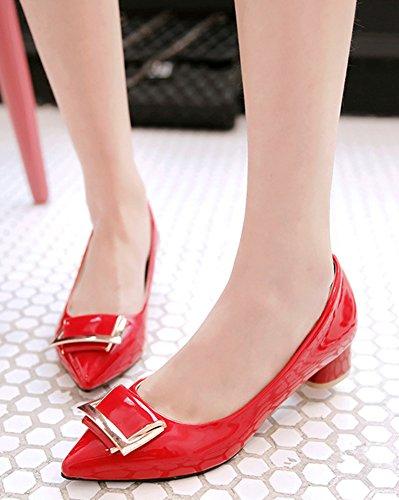 Pointu Bout Femme Escarpins Rouge Cérémonie Copine Mode Aisun Tire Chunky Carrée qXAxXH7nw6