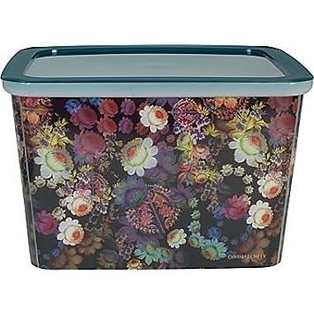 Cynthia Rowley Cosmic Black Floral Plastic Storage Box (16u0026quot; X 13u0026quot;  ...