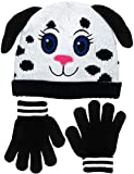 Girls Spotted Puppy Dog Face with Floppy Ears Knit Beanie & Gloves Set 2 Colors (Black & White)