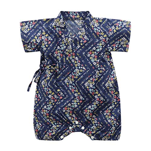 RUIVE Newborn Footies Summer Infant Baby Boy Girl Short Sleeve Floral Bodysuit Bandage Kimono Romper Jumpsuit Navy]()