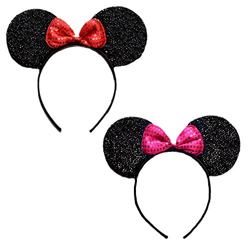 Miki Mini Sequin Bow and Glittering Ears Headband 2 Pieces Assorted Color Set (BkR-BkF)