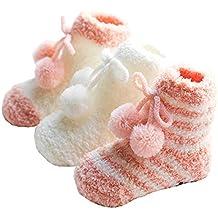 Baby Girls Socks Toddler Slipper Socks Fuzzy Socks Fleece Winter Floor Socks (Pink)