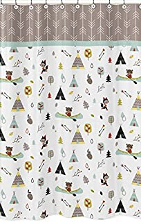 Sweet Jojo Designs Outdoor Adventure Nature Fox Bear Animals Kids Bathroom Fabric Bath Shower Curtain