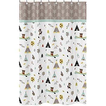 Sweet Jojo Designs Outdoor Adventure Nature Fox Bear Animals Kids Bathroom Fabric Bath Shower Curtain