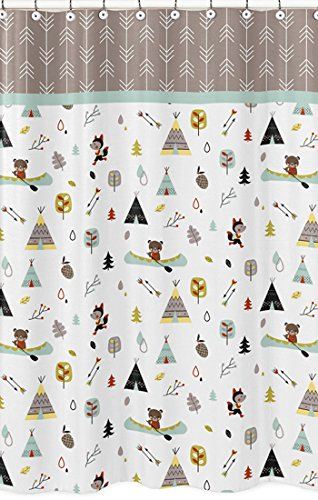 Sweet Jojo Designs Outdoor Adventure Nature Fox Bear Animals Kids Bathroom Fabric Bath Shower Curtain by Sweet Jojo Designs